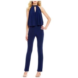 Laundry by Shelli Segal Navy Embellished Jumpsuit